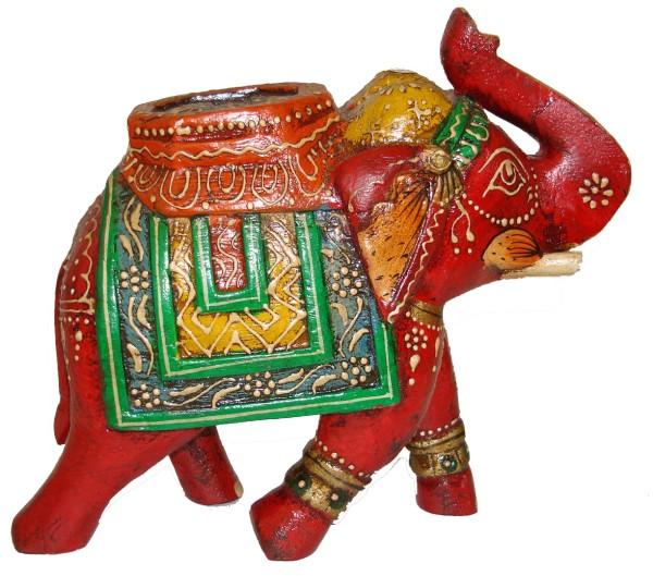 Indischer Deko-Elefant, Holz, Rot