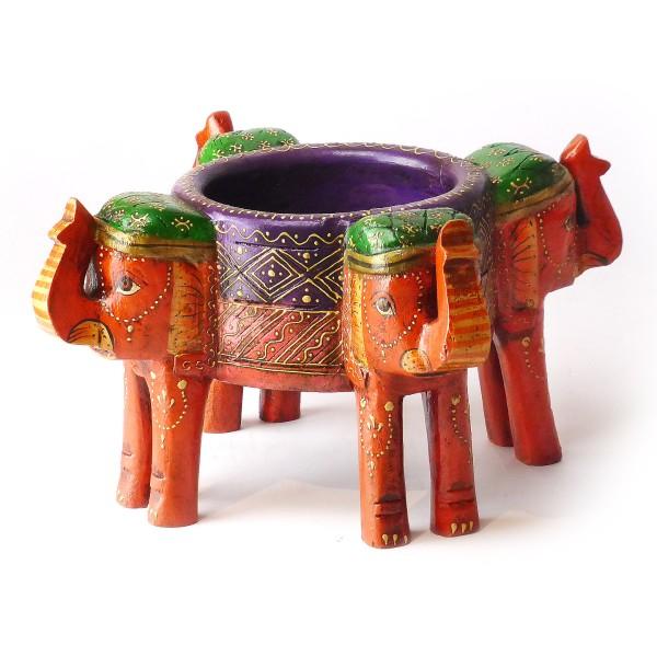 "Dekoschale ""Elefanten"", Holz, Orange"