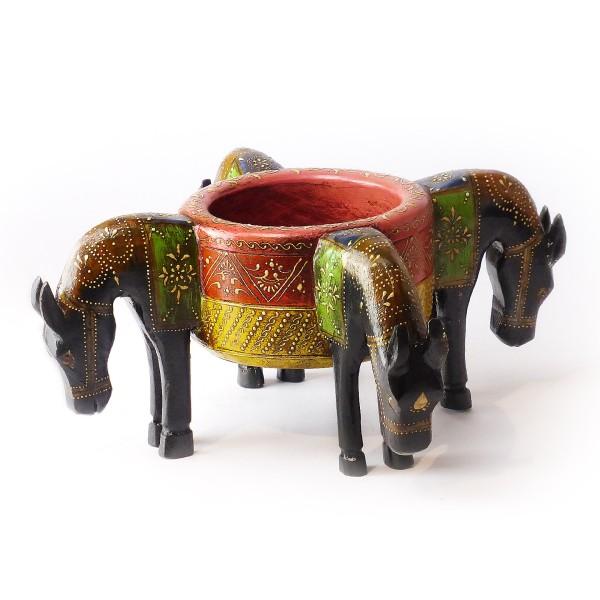 """Dekoschale """"Pferd"""", Holz, Schwarz"""