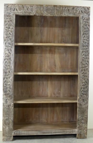 Bücherregal mit Schnitzereien, Mangoholz, Unikat