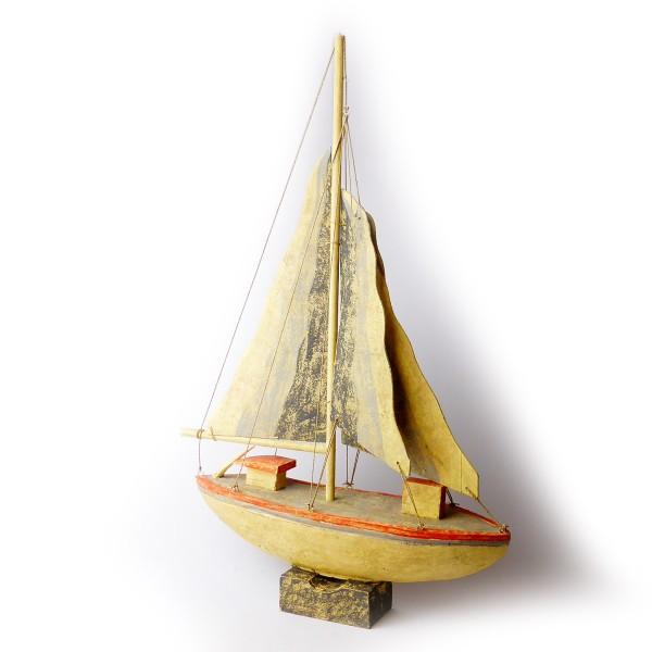 Segelschiff mit Holzsegeln Beige/ Orange, Höhe ca. 78 cm
