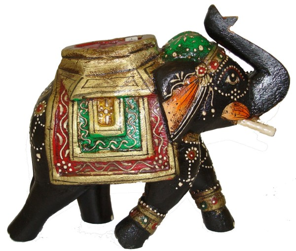 Indischer Deko-Elefant, Holz, Schwarz