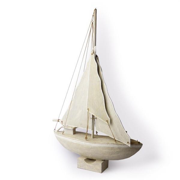 Segelschiff mit Holzsegeln Weiß/ Weiß, Höhe ca. 78 cm